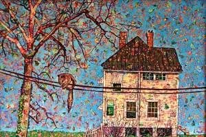 """Elaine Fleck. """"Elm Avenue."""" Oil on fabric on canvas., 24"""" x 36."""""""