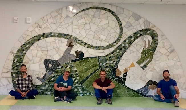 "New public art: Camp Allen stone mosaic ""The Dragon Family"""