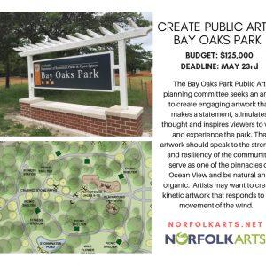 Create public art in Bay Oaks Park, Norfolk, VA