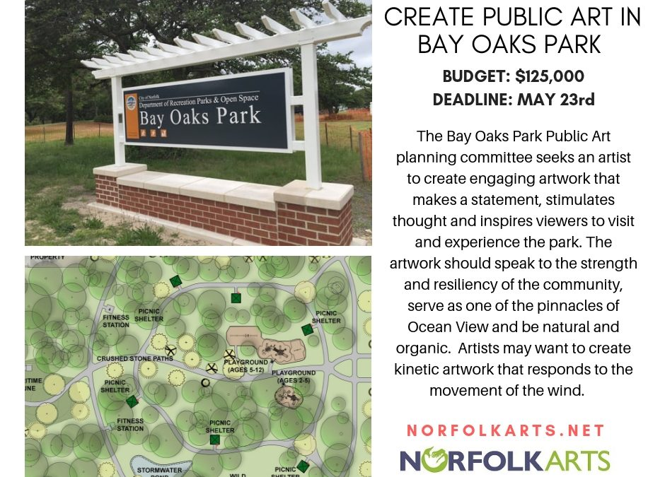 Create public art in Bay Oaks Park, Norfolk, VA
