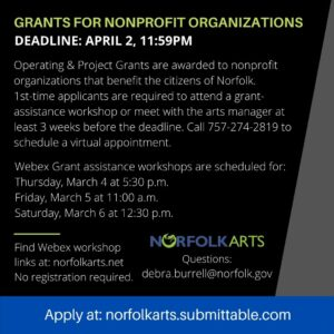 Nonprofit Organizations apply by 04/02 for a Norfolk Arts Grant