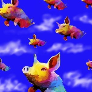 image of pigs flying painted by 2018 exhibiting artist David Gwaltney