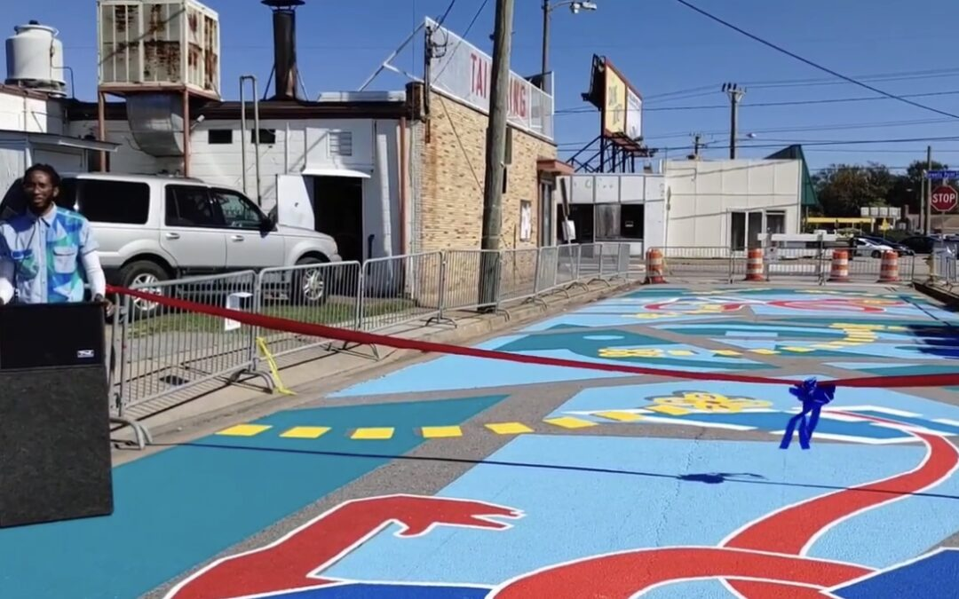 "Listen to Mensah Bey speak at the dedication of his asphalt mural in 5 Points ""Gather In Abundance"""