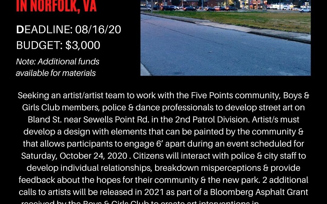 New opportunity to create art in Norfolk, VA