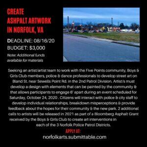 New opportunity to create art in Norfolk, VA