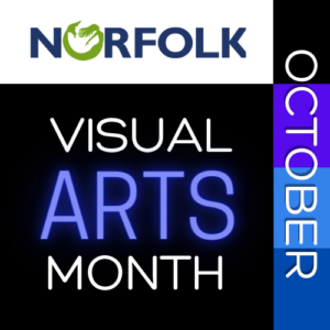 Advertisement in black purple and white reads Norfolk Visual Arts Month October