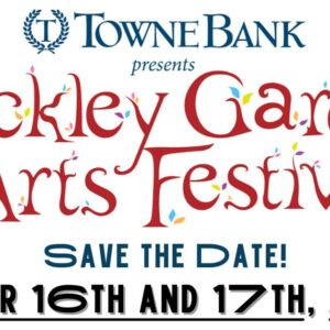 Stockley Gardens Arts Festival is centered on a white background with save the date October 16 and 17th underneath and sponsor Town Bank in blue letters appears at the top